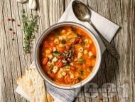Рецепта Доматена зеленчукова супа минестроне с бекон, боб, макарони, чушки, картофи, тиквичка и патладжан
